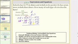 Writing Expressions to Solve a Linear Equation App- Coins