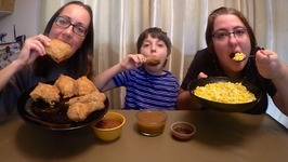 Fried Chicken, Corn And Gravy  Gay Family Mukbang - Eating Show
