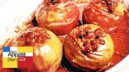 Pommes rôties, en 12 sel, au calvados et raisins confits