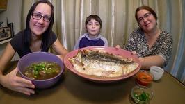 Mushroom Noodle Soup And Dill Pesto Salmon  Gay Family Mukbang - Eating Show