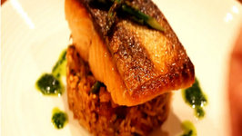 Pan-fried Salmon, Spanish Rice with Cilantro Oil