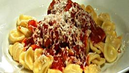 Braciola di Vitello with Orecchiette - Stuffed Veal Rolls in Tomato Sauce Over Orecchiette Pasta