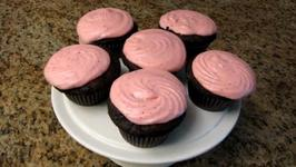 Chocolate Cupcakes With Strawberry Buttercream Frosting