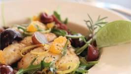 Mediterranean Style Arugula Salad with Sautéed Halibut