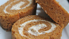 Easy Pumpkin Cake Roll with Cinnamon Pecan Cream Cheese Filling