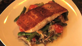 Pan Seared Salmon with Mushroom and Asparagus Ragout