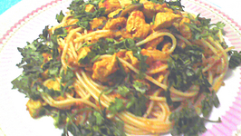 Healthy Indian Spaghetti In Yellow Curry Sauce