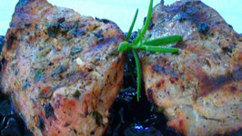 Grilling Herb Marinated Pork Tenderloin with Blueberry Compote
