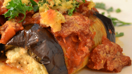 Vegan Eggplant Rollatini with Grilled Tomato Sauce