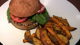 Rice Burgers with Lentils and Baked Fries