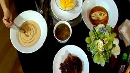 Poached Chicken, Pork, Shrimp Soup and Mango Dessert