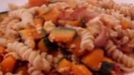 Kabocha (Japanese Pumpkin) With Bacon And Rotini Pasta - Easy and Tasty