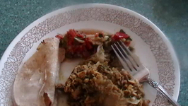 4 dinner dishes with chicken cutlets, chicken chunks, curried salmon and vege chinese