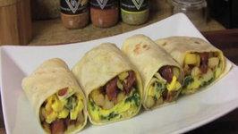 Potato, Egg and Smoked Sausage Breakfast Burrito