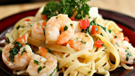 Fettuccini with Shrimp and Spinach