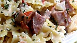 Creamy Pasta, Sausage and Tomato Skillet Meal Easy Weekday Dinner Idea