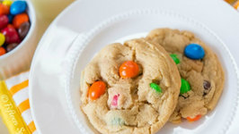 The BEST Peanut Butter Cookies with PB MandMs