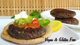 Quick Healthy Black Bean Burger by Bhavna - Vegan and Gluten Free