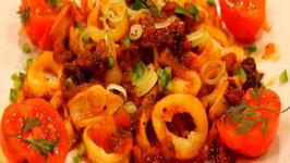 Calamari with Tomato, Cilantro, Chipotle Sauce