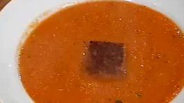 Roasted Bell Pepper And Carrot Soup With Tarragon And Pear