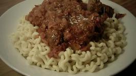 Pasta with Homemade Meatball Gravy