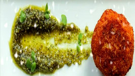 Arancini with Fresh Creamy Mozzarella Served with Basil Almond Pesto
