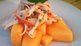 Culinary Carrie Spicy Crab Salad on Chilled Cantaloupe