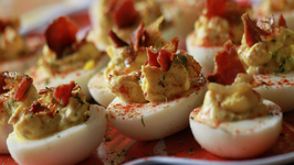 Fancy Deviled Eggs with Bacon and Caramelized Onion