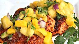 Chili Salmon with Pineapple Mango Salsa