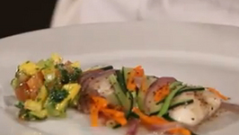 Poached Pickerel with Fresh Herb and Mango Salsa