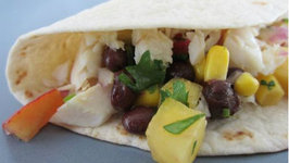 Tilapia Tacos with Peach, Corn and Black Bean Salsa