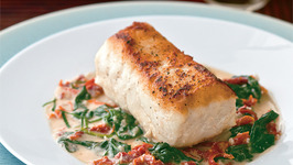 GROUPER A LA PLANCHA with SUN-DRIED TOMATOES and SPINACH