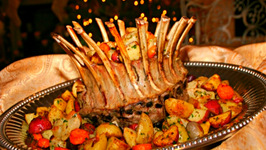 Roast of Lamb with Roasted  Vegetables, Pomegranate Salad and Cranberry-Almond Panna Cotta