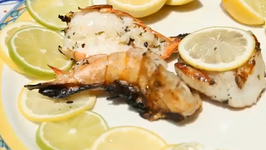 Grilled Thai Basil Shrimps And Scallops With Watermelon Martini