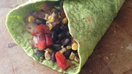 Spicy Black Beans Veggie Wrap (Healthy, Quick Lunch Idea)
