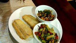Jumbo Fluke with Pea Puree Sauce and Veggies
