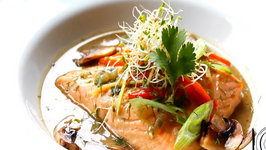 Poached Salmon in Miso Broth