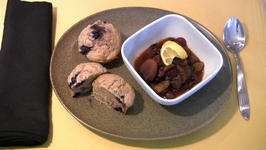Banana Blueberry Nut Muffin with Dry Fruit Compote