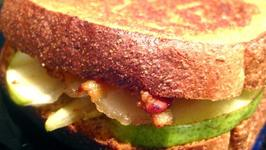 Bacon And Carmelized Pear Grilled Cheese Sandwich