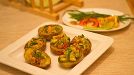 Potato Skins with Avocado Filling and Garlic Mashed Potato