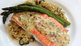 Copper River Salmon featuring Almond Tarragon Vinaigrette and Caramelized Couscous