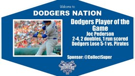 Dodgers Highlights Player of the Game Joc Pederson Scores Two Doubles and a Run