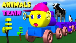 Animals Cartoons Train Song  Wheels On The Bus  Finger Family Rhymes