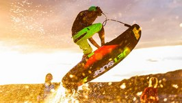 Motor Strapped to Surf Board - Jet Surf