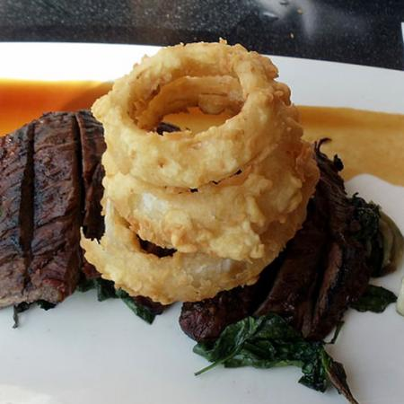 Marinated steak with Onion Rings