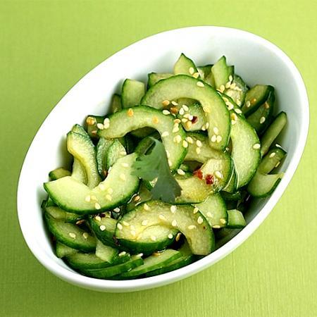 Sliced Cucumbers With Sesame Rice Vinaigrette