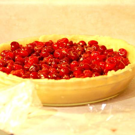 Uncovered cherry pie