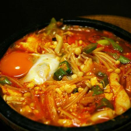 Korean stew made with uncurd tofu