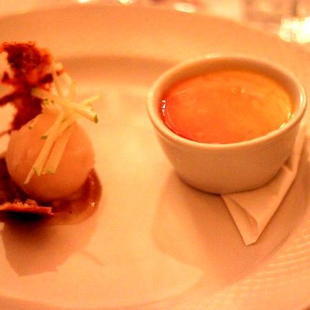 Calvados creme, herbel tea sorbet