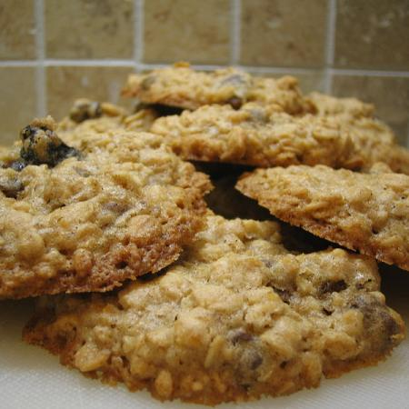 Oatmeal Cookies with orange zest, golden raisins, and chocolate chips